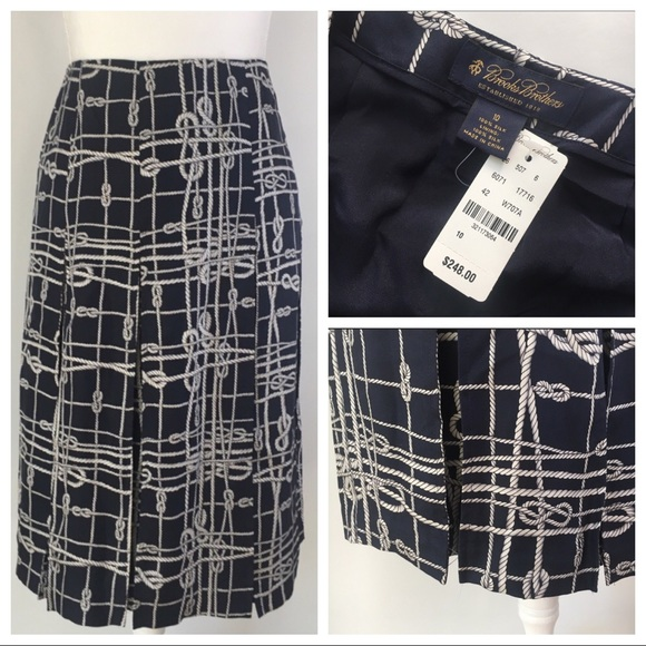 Euc Nautica 100% Silk Plaid Skirt Size 10